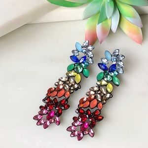 Rainbow Cluster Bling Drop Colorful Earrings